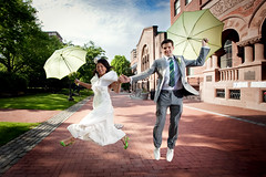 walking on sunshine (sgoralnick) Tags: wedding brooklyn groom bride jump jumping rob kathy gothamist umbrellas fortgreene prattinstitute pratt parasols robandkathyswedding