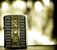Love is much like a wild rose, beautiful and calm, but willing to draw blood in its defense. (legends2k) Tags: leica blackandwhite black love monochrome vintage lumix pattern dof panasonic lighter symbols tones coorg zippo fz18 panasonicdmcfz18 markoverby