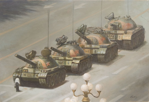 Tiananmen Square: The man and the white lights will be painted or not?