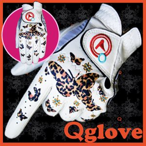Qglove Golden leopard Butterfly ladies golf gloves by Qglove Golf Gloves Fashion.