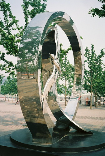 Shiny flight sculpture in Olympic Park, Beijing