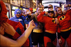 group of heroes - Cardiff (Maciej Dakowicz) Tags: city uk wales night group cardiff superman dressedup hero nightlife stmarystreet