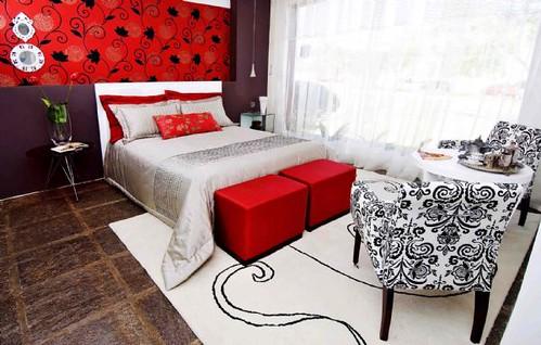 Inspire-se: Decoracao quarto casal vermelho, preto e  branco