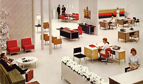 open office layout. Steelcase office ads at