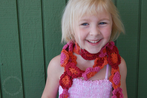 Annalie modeling a flower scarf