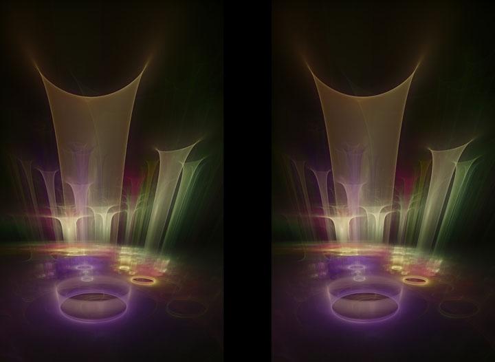 Fractal Art - Funnels colour stereo by Nicholas M Vivian