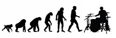 human evolution musical ( ) Tags: music blanco drums back y withe live negro evolution musica bateria silueta evolucion baterista