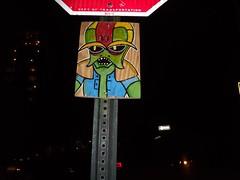 Brotak of the Bubbleman (Reid Harris Cooper) Tags: wood streetart graffiti board roycebannon herculoids royce woodart newyorknewyorkcity boardart