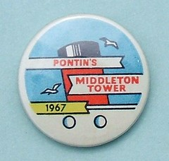 1967 Pontin's Middleton Tower - camper's badge (RETRO STU) Tags: morecambe pontins happycampers buttonbadge middletontowerholidaycamp ssberengaria tinbuttonbadge pontin'smiddletontower camper'sbadge harrykamiya