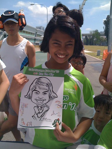 caricature live sketching for Cold Storage Kids Run 2010 - 24