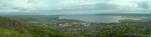 Panorama from the Cavehill of North Belfast, Newtownabbey, Carrickfergus and Belfast Lough