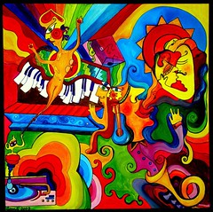 music genie (Iwona Blasi) Tags: people music art love colors painting concert rainbow acrylic gig piano trumpet player canvas genie iwonastefanczuk top20paintings sharingart bestpainters
