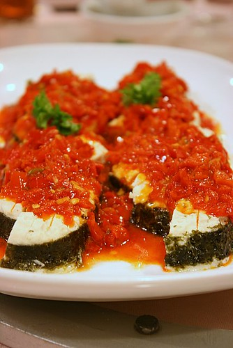 Spicy pan-fried vegetarian fish