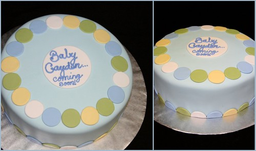 Blue Green Yellow Polka Dot Cake