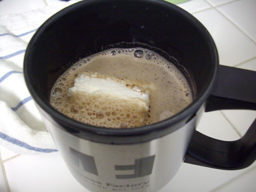 My marshmallow a-floatin' in my cocoa one morning.