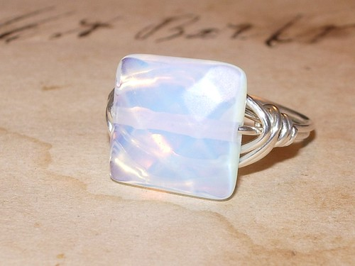 Opalite Sterling Silver Wire Wrapped Ring