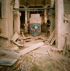 graffiti for no one (sawtoothphoto) Tags: abandoned oregon graffiti 2000 pinhole hi lime zeroimage 1minuteexposure