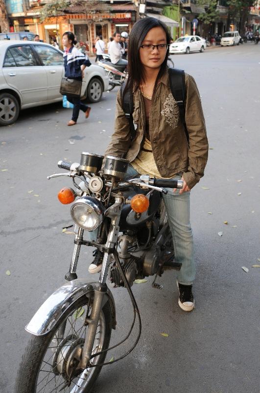 A girl in a motobike