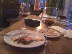 3$ wine and hummus at cafe capriccio