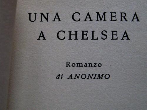 Anonimo (Michael Nelson), Una camera a Chelsea, Longanesi 1961, frontespizio (part.) 1
