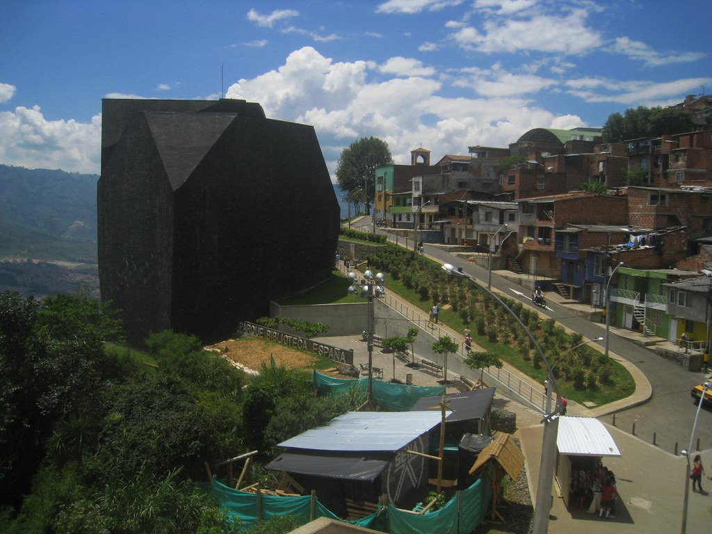 The ominous looking Biblioteca Espana was built on a mountainside to help revitalize a once dangerous neighborhood.