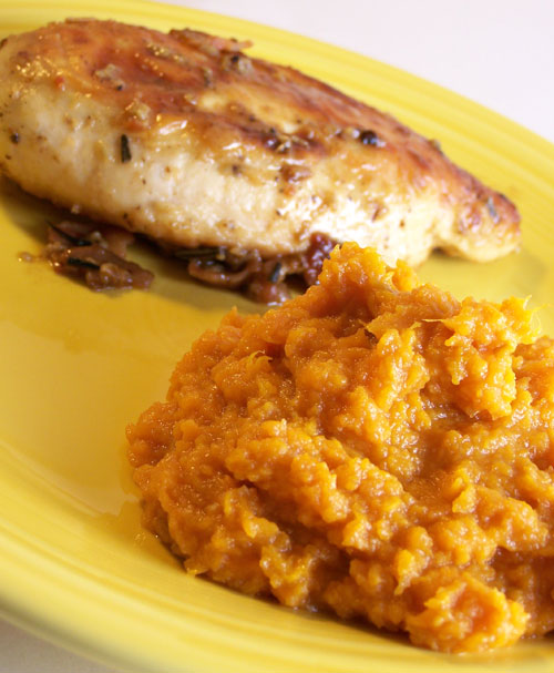 Bacon and Rosemary Chicken and Maple Mashed Sweet Potatoes