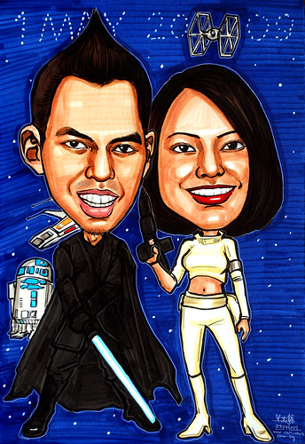 Couple caricatures Star Wars Anakin Skywalker and Padme Amidala