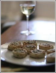 Sunday cocktail hour (AlisonLOL) Tags: food cooking foods wine bokeh cocktail anchovies appetizer tarts anchovy pinotgrigio anchovybites cockailhour