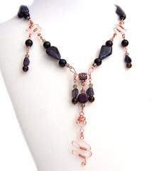 Diana (Kick Rox Jewelry) Tags: fashion necklace handmade copper romantic etsy edwardian gemstone smokeyquartz iolite wix rainbowobsidian wireworked beadfancy wixbeadfancy