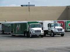 Freighliner and IH tractors (ffdav_1) Tags: truck beverage 7up ih freightliner