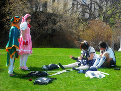 Planning Session In The Park (LostMyHeadache: Absolutely Free *) Tags: park costumes windows girls canada anime flower tree calgary grass leaves rose socks buildings bag campus asian outside outdoors cool university princess cosplay branches lawn manga dresses alberta weapon backpacks bags otaku knee schoolgirl weaponry schoolgirls 2009 grounds outfits props princesses skirts weapons kneesocks uofc scythe calgaryalberta beautifulday davidsmith packs calgaryalbertacanada otafest lostmyheadache otafest09 otafest2009