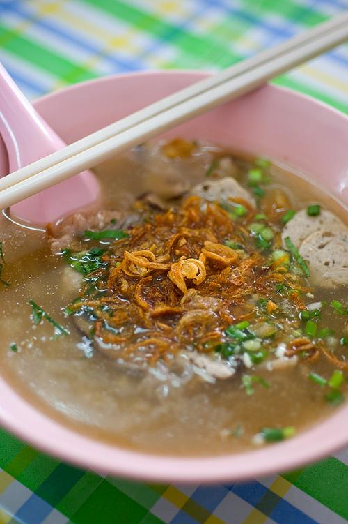 A bowl of kuay jap yuan, a Vietnamese-style noodle soup, Bangkok