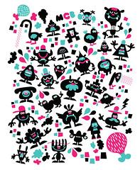 CreatureConfetti (Michiel Baumgarten) Tags: pink design confetti characters creatures kleuren baumgarten vormgeving ontwerp mcbaumgarten