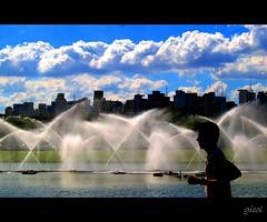 I should run... (gicol) Tags: park blue parque sky parco lake water fountain sport azul brasil clouds buildings lago agua eau nuvole running cielo nubes ibirapuera acqua azzurro fontana jogger palazzi correre sanpaulo dicorsa