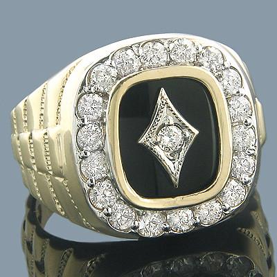 Мужской золотой перстень с черным