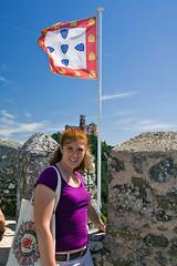 23 - Posing in front of Pena Palace at the Moorish Castle (Nathan A) Tags: blue sky castle portugal europe lisboa lisbon sintra palace moorish pena moores