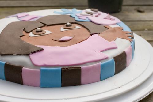 side view Dora cake