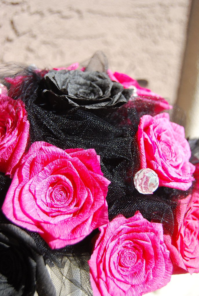 Pink and Black Rose Bridal Bouquet