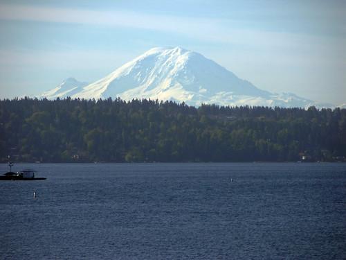 Mount Rainier past Lake Washington