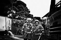 Shepherds scrap metal fire (Paul J White) Tags: bw fire firemen scrapyard emergency byker shepherds ouseburn nonferrousmetals ouseburning