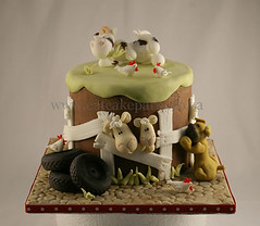 Paul's farmyard cake (Dot Klerck....) Tags: dog chickens animals cake southafrica cow sheep farm capetown dot tires wellington lamb whimsical farmyard boerbull boyscakes eatcakeparty