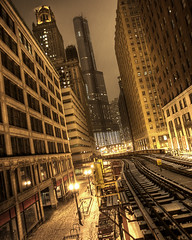 Ditko and Lee, Call Your Office (Cycle the Ghost Round) Tags: city winter urban orange usa snow chicago black night buildings illinois track cta gbrearview unitedstatesofamerica tan tracks el rails l snowing trumptower hdr 3xp canoneos5d photomatix exp2 canonef1635mmf28lusm