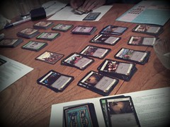 Photograph of a game of Dominion in progress