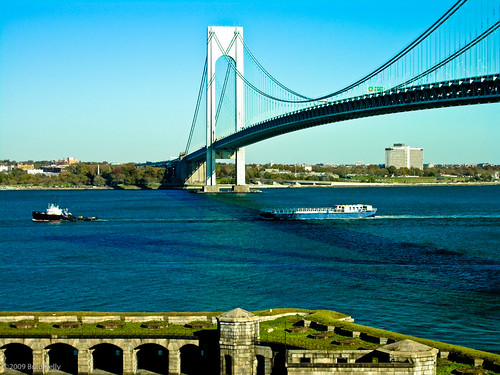 The Floating Pool passing under the Verrazano-Narrows and into New York Harbor by tug
