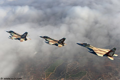Three knights and some clouds  Israel Air Force (xnir) Tags: new travel sky people 20d clouds speed plane canon wow airplane photography eos israel fly flying is photo high flyer flickr fighter photographer force lift general eagle wind action aircraft aviation military air tag flight wing aeroplane best f16 falcon fighting elevation viper  aviator dynamics pilot 2470l flier nir f15 airman lockheedmartin  iaf israelairforce 100400l benyosef 100400 superiority      xnir  idfaf   photoxnirgmailcom