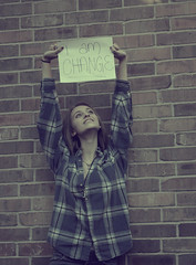 .i am change. (holly henry) Tags: new portrait brick me sign wall shirt self hope am president flannel change obama survival hold