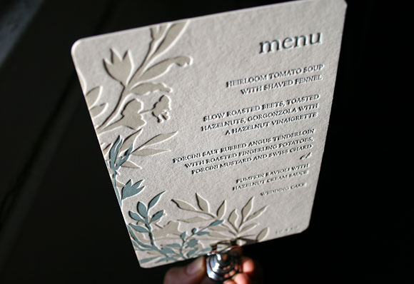 Letterpress wedding menu - Engadine design - Smock