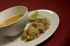 Spicy Carrot Peanut Soup with Wild Rice