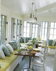 Banquette dining (KFSonshine) Tags: windows white diningroom yellowblue windowseat banquette beadboard