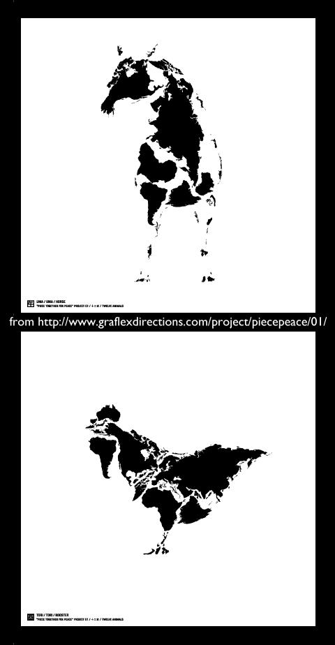 世界地圖的另一創作:十二生肖賀卡